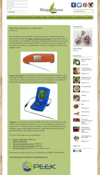 Mango Menus features Thermapen and ChefAlarm