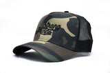 New Era Camo Logo Trucker Hat