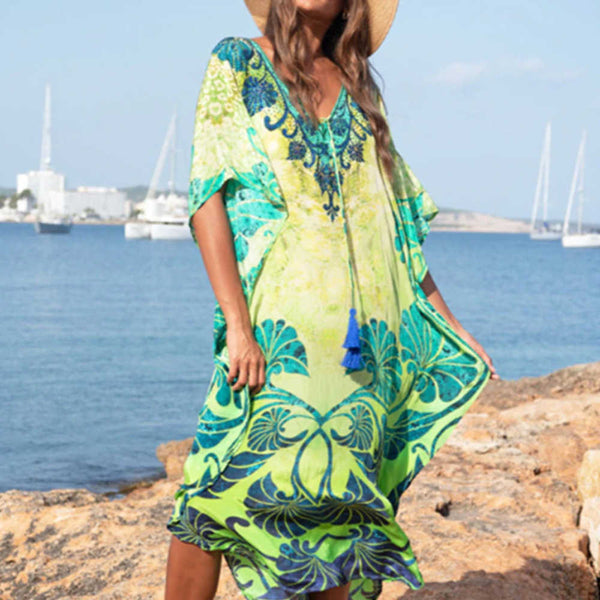 kaftan-maxi-dress-tropical-leaf-design