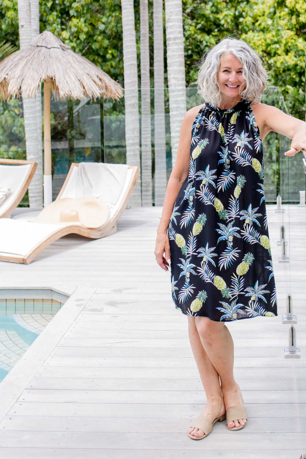 Short-summer-dress-black-pineapple-print