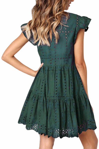A-line-Casual-summer-dress-forest-green-linen