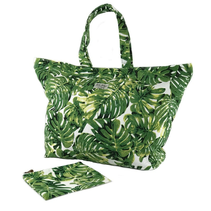 Beach bag and makeup bag gift set - palm leaf design