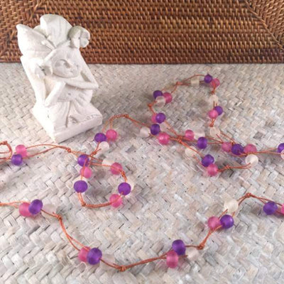 beaded necklace - pink purple white - long - Holley Day