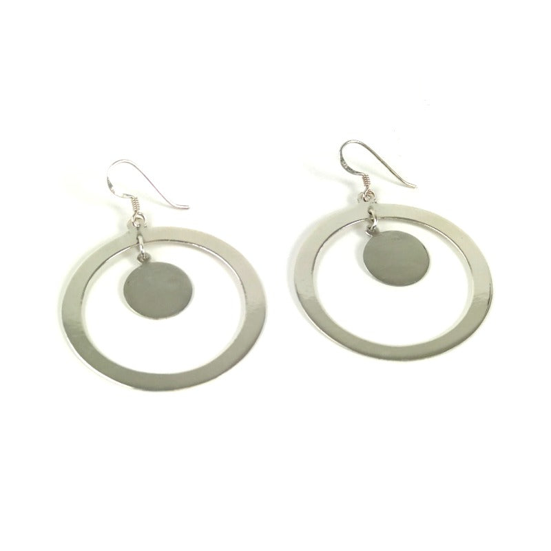 Silver earrings - circle design