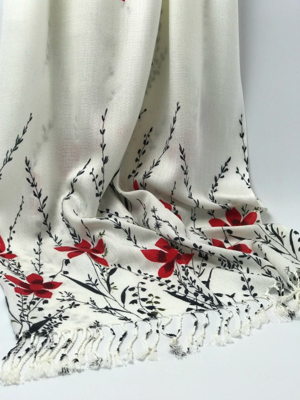 Ladies wrap - red black cream floral design