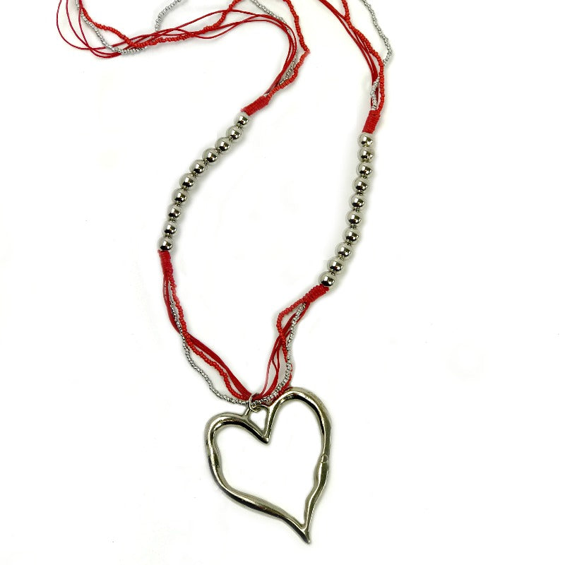 Heart pendant necklaces - silver pendant - beaded red strand