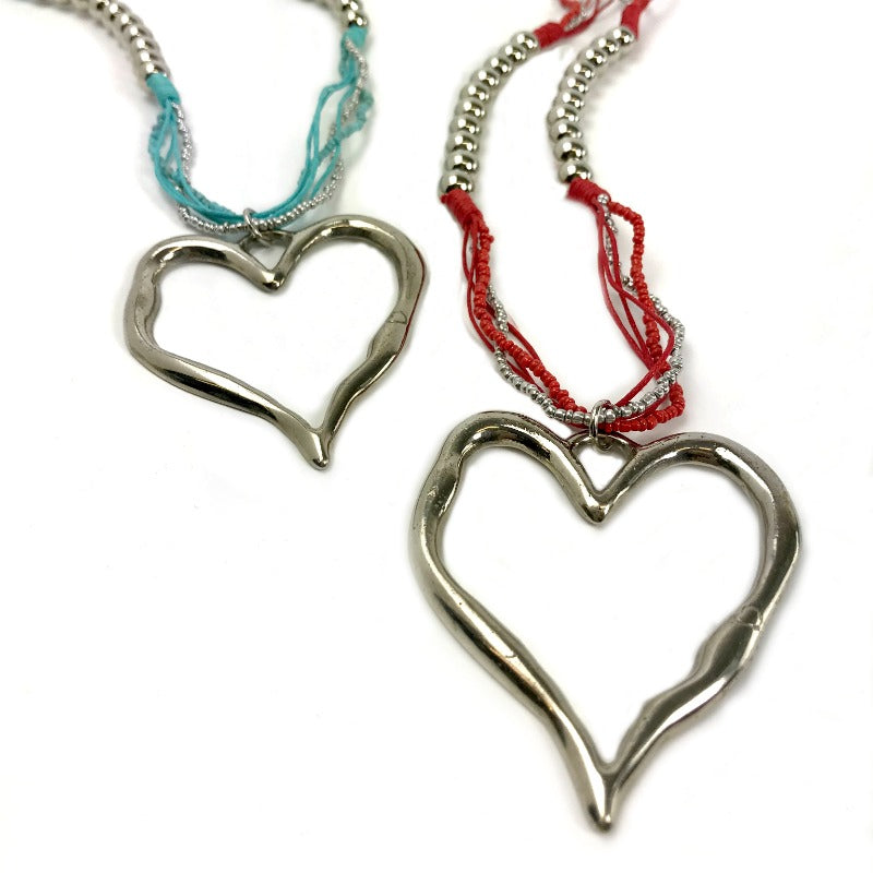 Heart pendant necklaces - silver pendant - red or blue strand