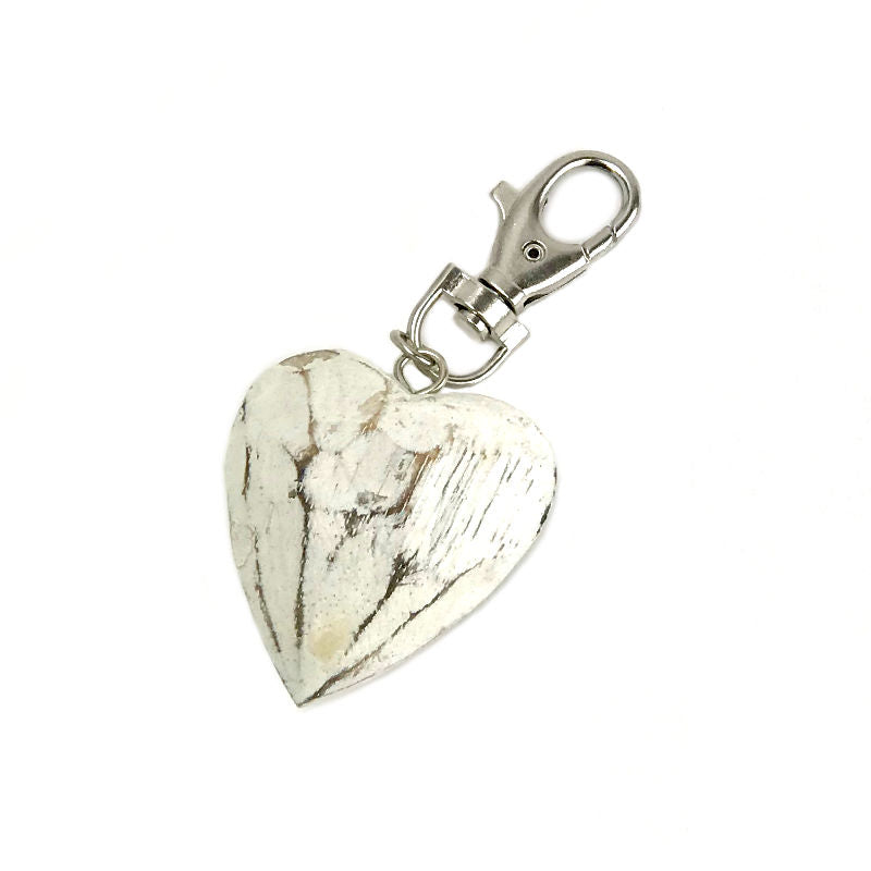 Keyring-handbag-charm-white-heart-wood