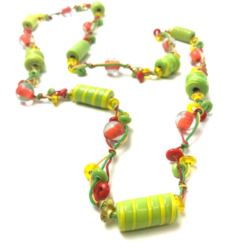 ladies-beaded-necklace-lime-green-orange