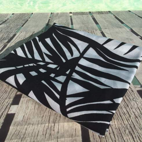 plus size sarongs - black and white palm frond design - Holley Day