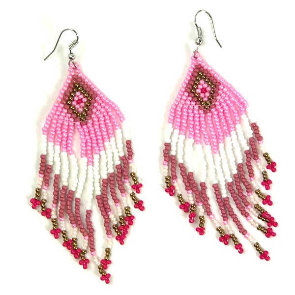 Seed bead earrings - diamond pattern - white pink - Holley Day