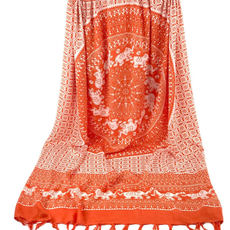Mandala sarong - elephant animal print - white orange