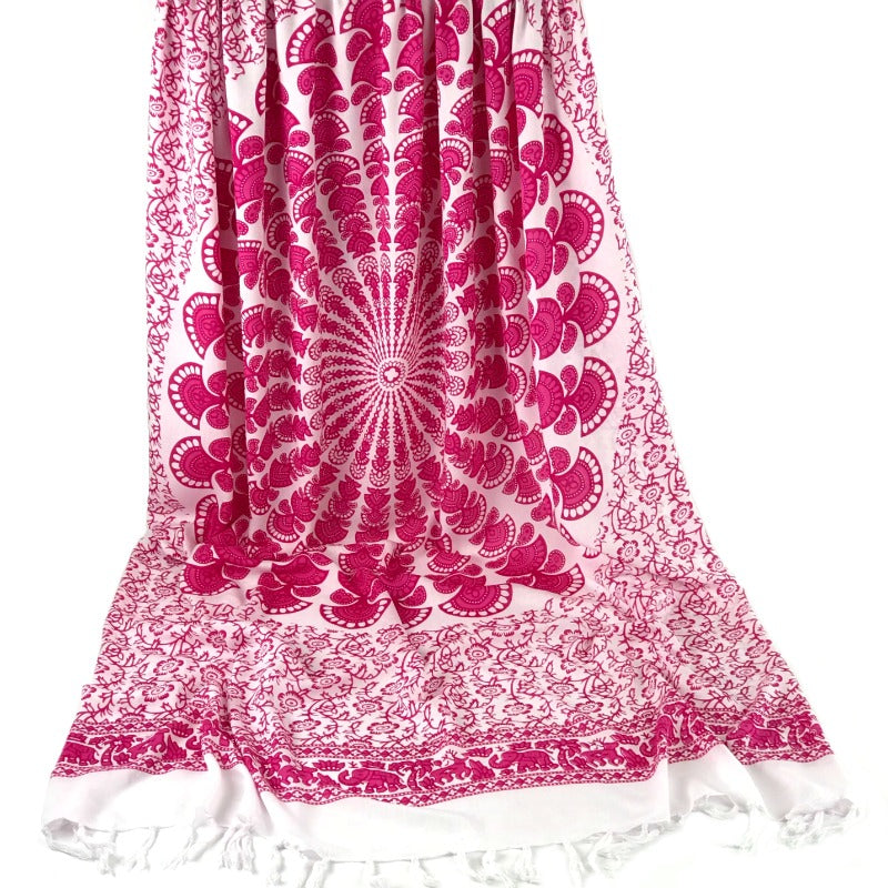 Mandala sarong-floral-elephant-animal-print-white-purple