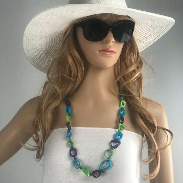 beaded necklace - blue lime purple