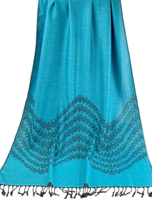 Cashmere Pashmina - blue and black droplet design