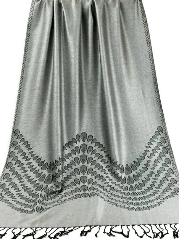 Cashmere Pashmina - silver gray and black droplet design