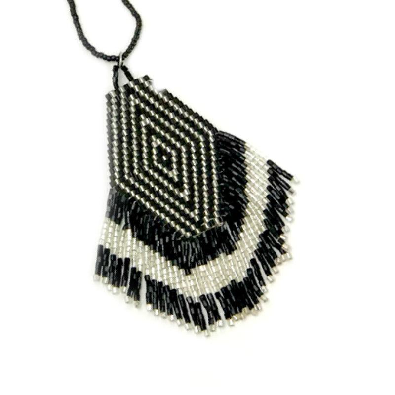 Seed bead pendant necklace - black and silver with tassel fringe