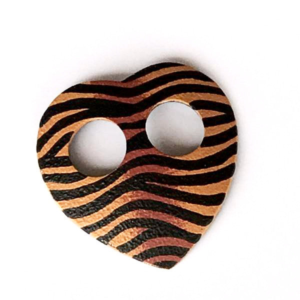 Sarong buckle - zebra artwork - natural tones in heart shape - Holley Day