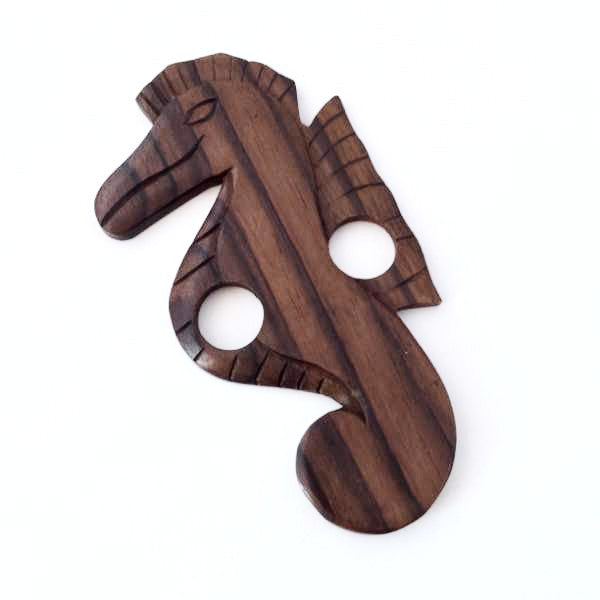 sarong buckle - seahorse - wood - Holley Day