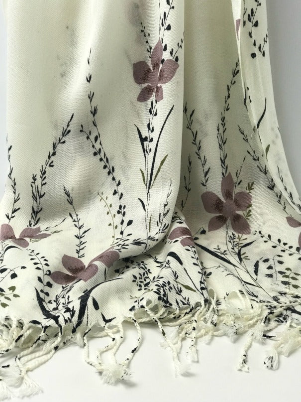 Ladies shawl - brown black cream floral design