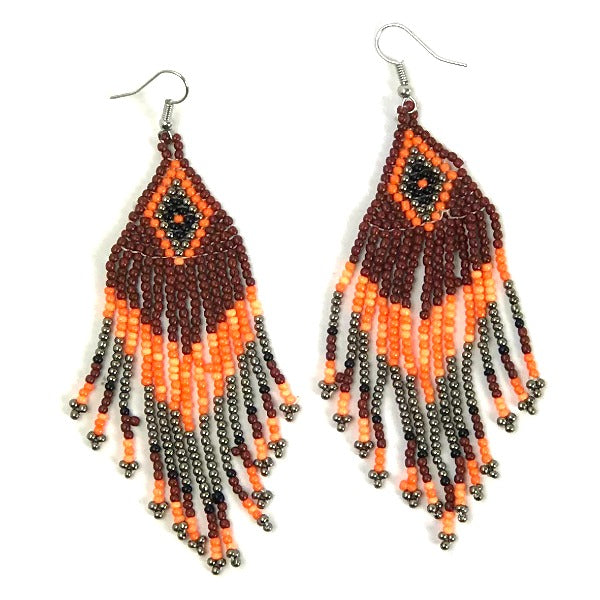 Seed bead earrings - diamond pattern - brown orange - Holley Day
