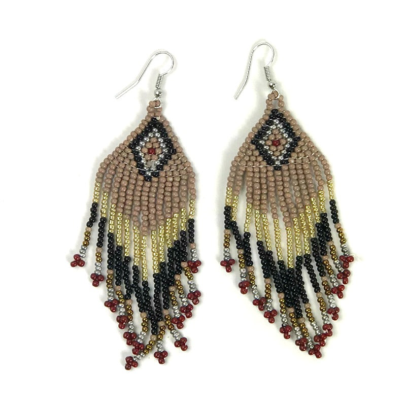 Seed bead earrings - diamond pattern - brown black - Holley Day