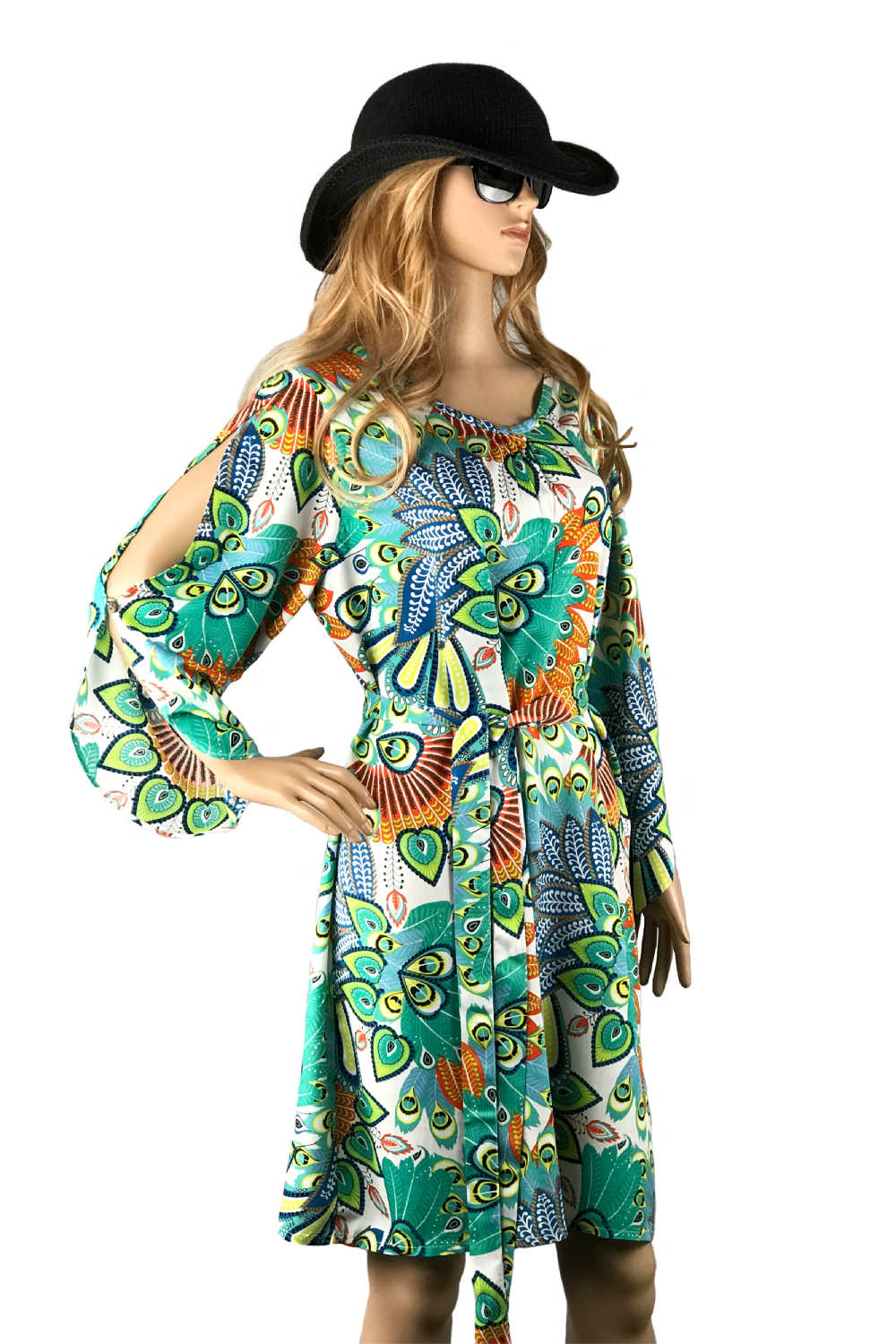 summer-dress-emerald-green-white-orange-peacock-design