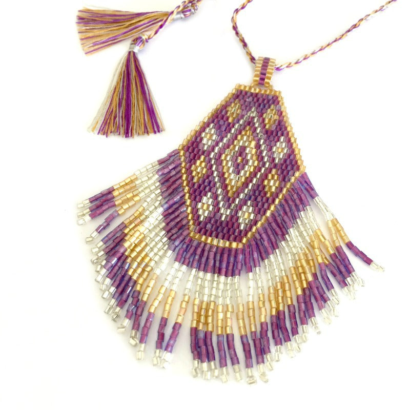 Seed bead pendant necklace - tassel fringe - mauve gold silver