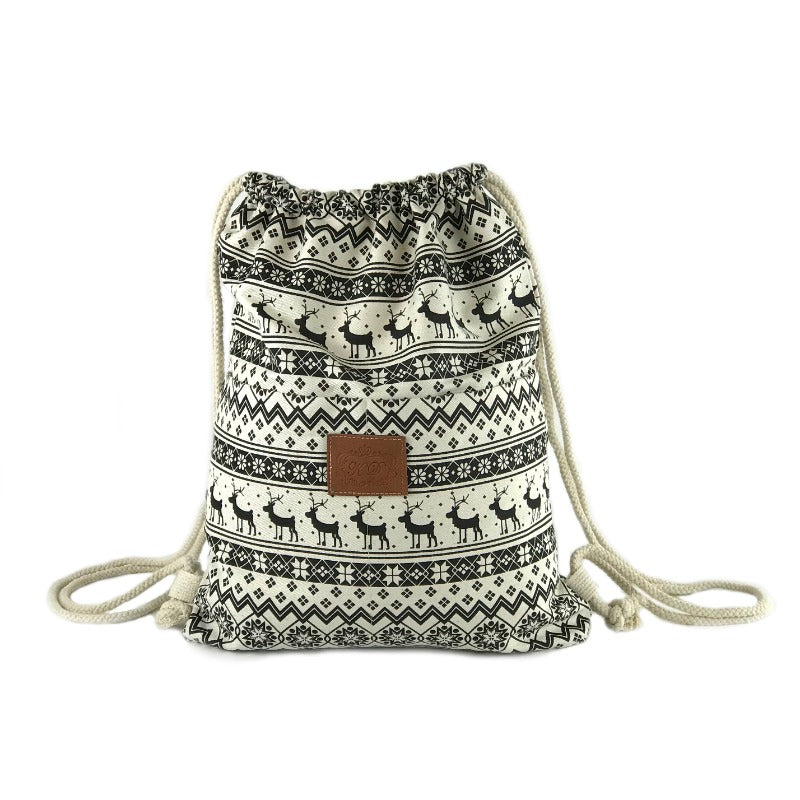 Backpack Beach Bag - Reindeer Design - Canvas