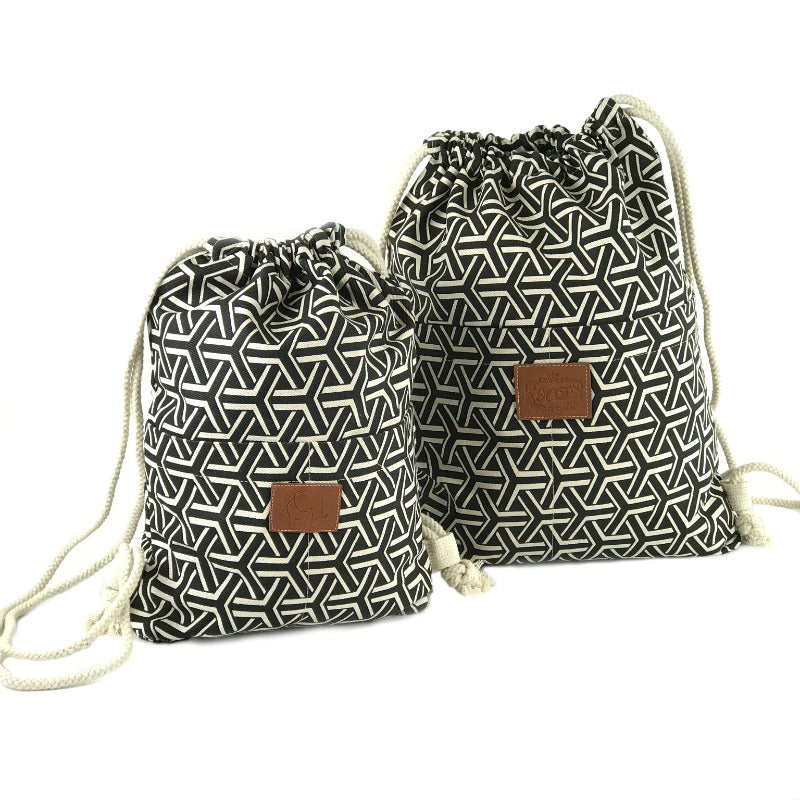 Backpack Beach Bags - Black and Cream Crossway Geometric Print Design - Canvas