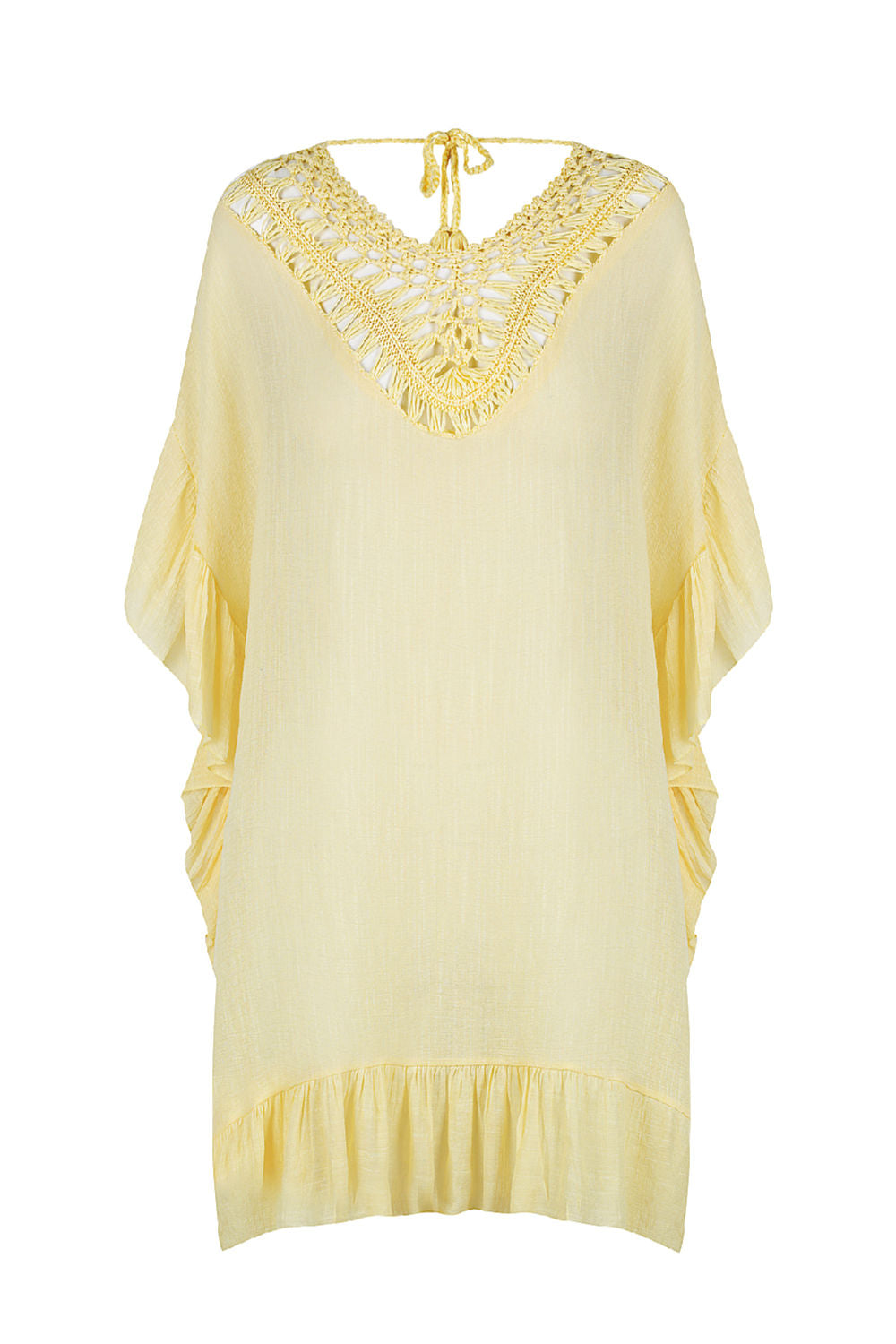 beach-kaftan-dress-cover-up-lemon-yellow-crochet-trim
