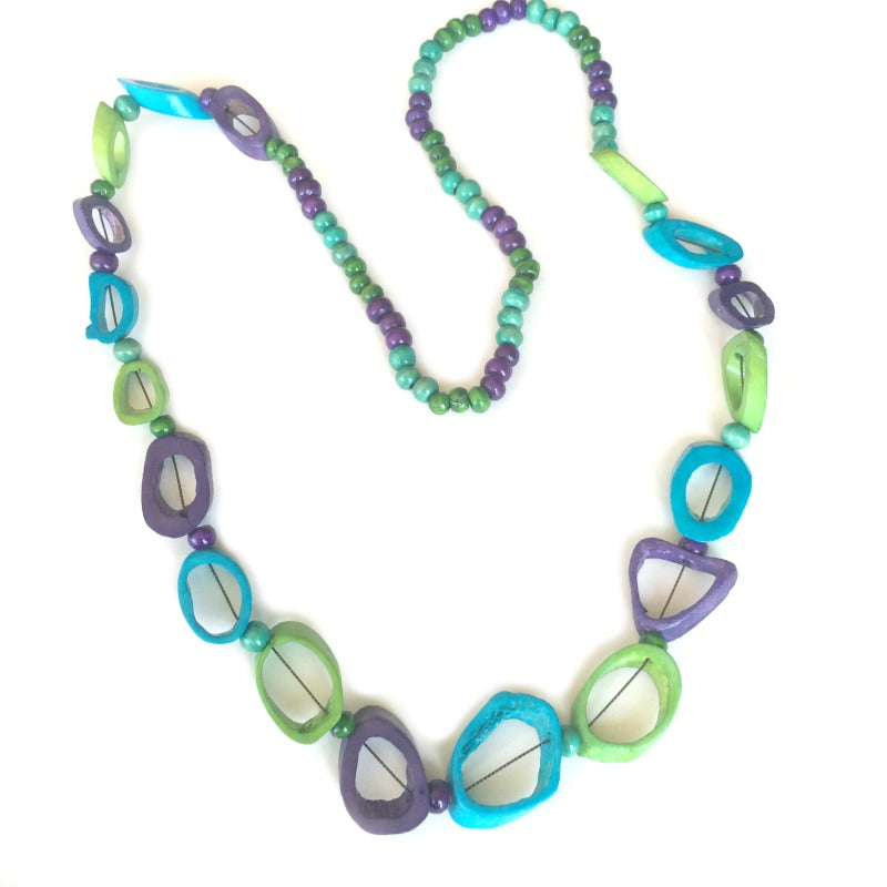 ladies beaded necklace - blue lime purple