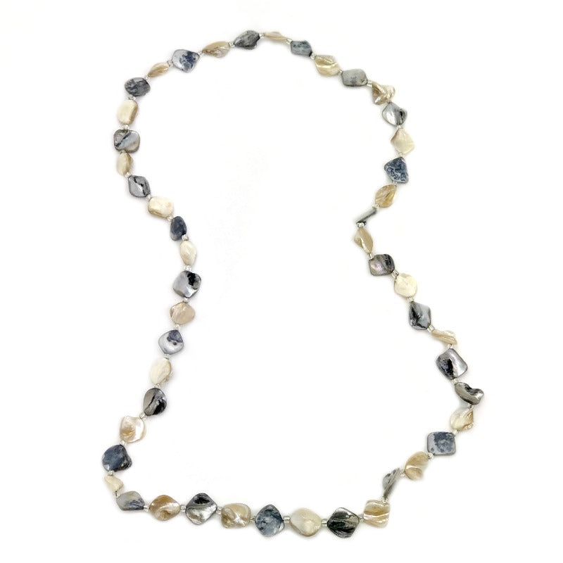 Ladies beaded necklace - grey cream pebbles