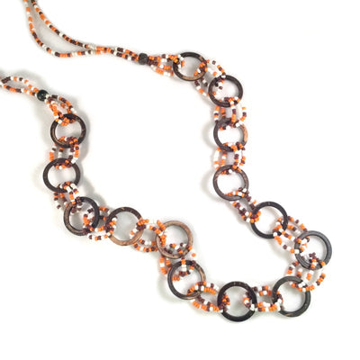 long beaded necklace - brown orange white