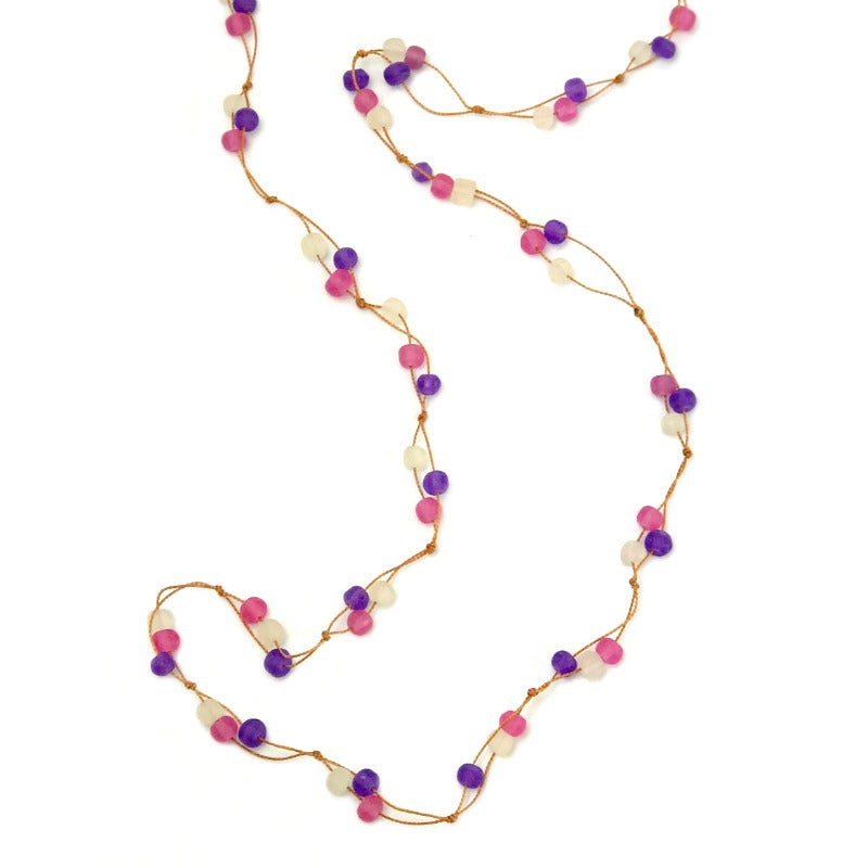 beaded necklace - pink purple frost - long