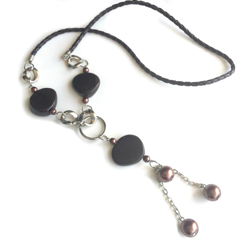 Beaded-tassel-necklace-brown-silver
