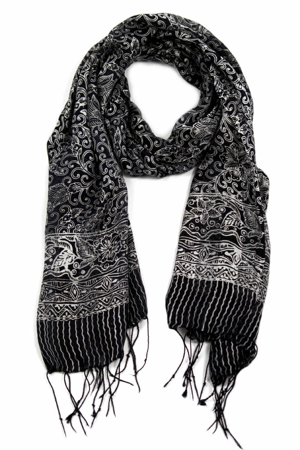 Black-white-silk-scarf-floral-design