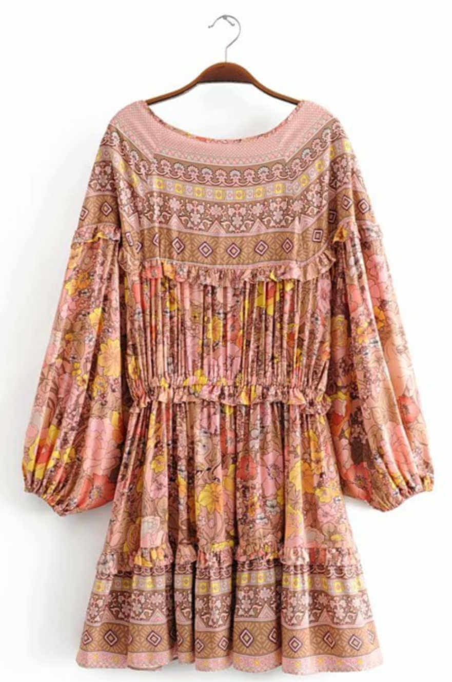 boho-mini-summer-dress-vintage-floral-pink-mocha