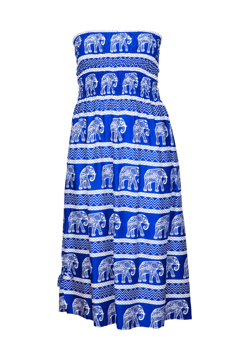 boob-tube-dress-blue-white-elephant-print