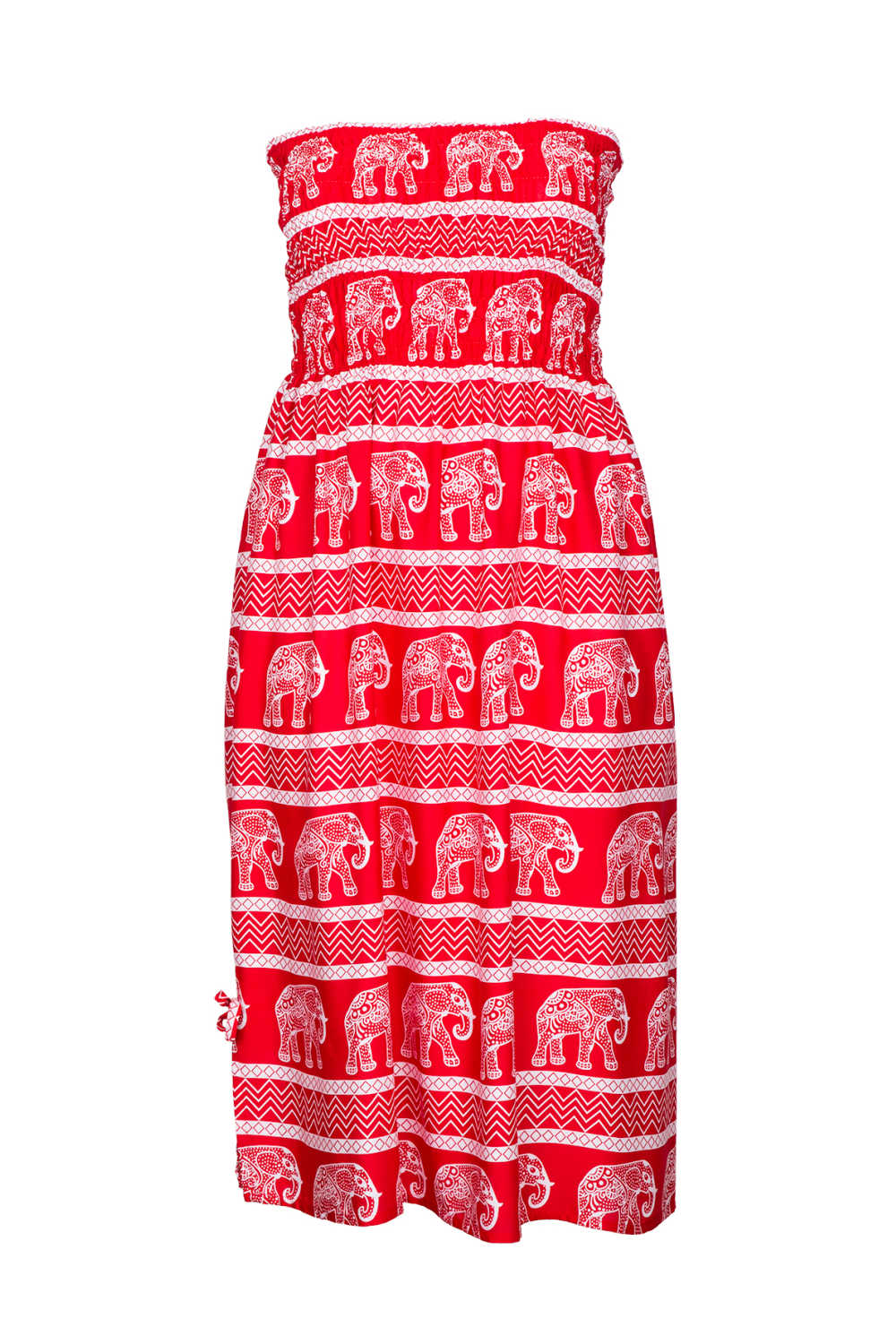 boob-tube-dress-red-white-elephant-print