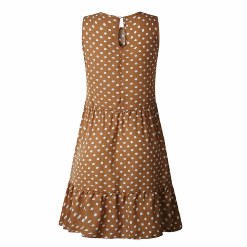 polka-dot-ladies-summer-dress-brown-white-ruffle-layers