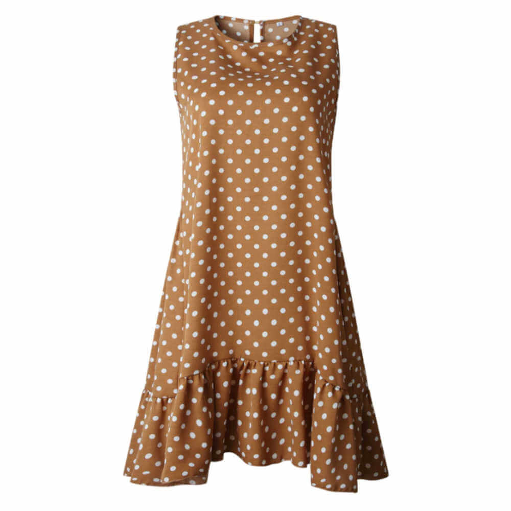 casual-summer-dress-brown-white-polka-dot-ruffle-layers