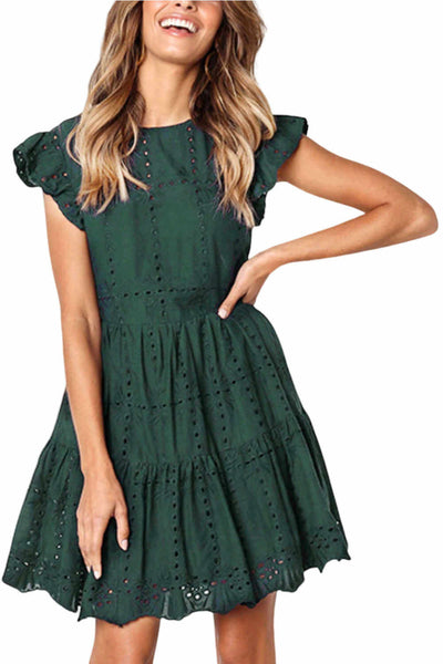 Casual-summer-dress-forest-green-linen