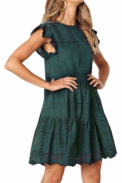 Casual-summer-dress-a-line-forest-green-linen
