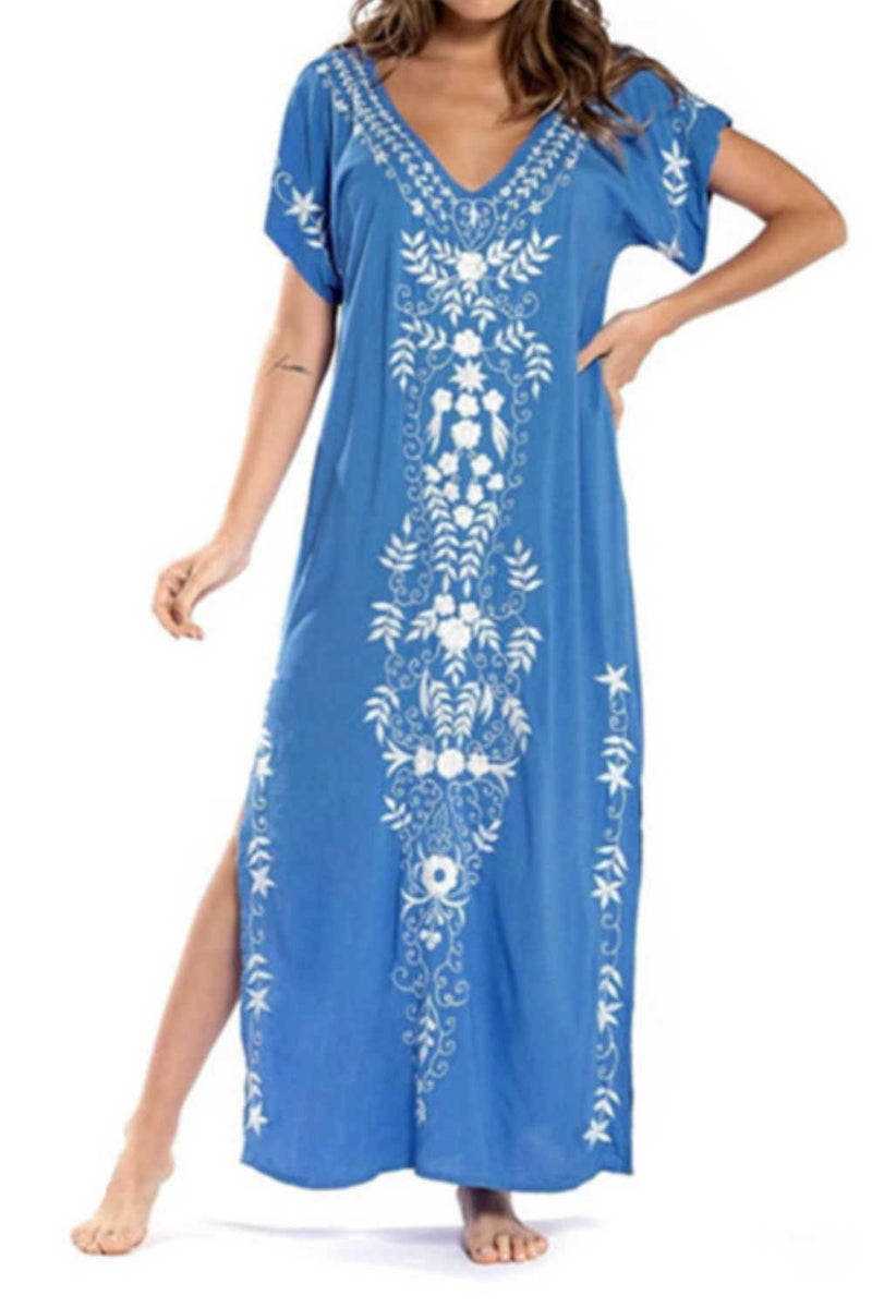 Embroidered Blue Kaftan Maxi Dress