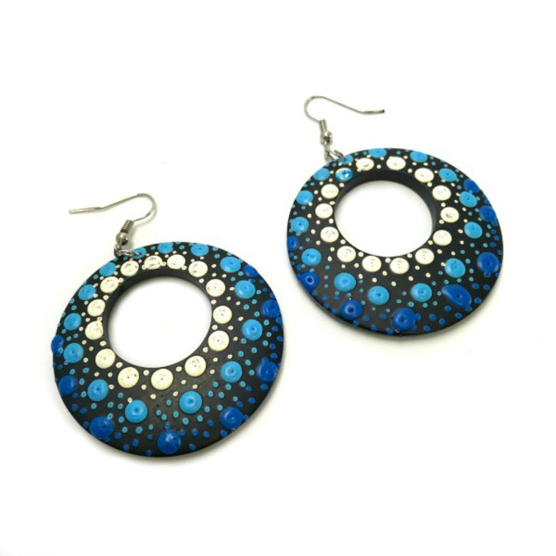Drop Earrings - hand painted blue white dots - hoops