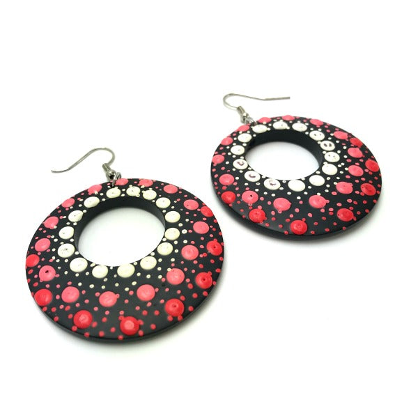 Drop Earrings - hand painted red pink white dots - hoops