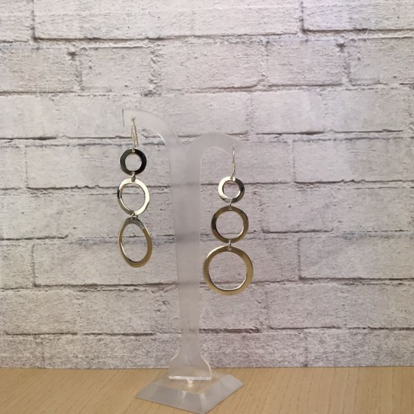 Drop earrings - silver circles - Holley Day