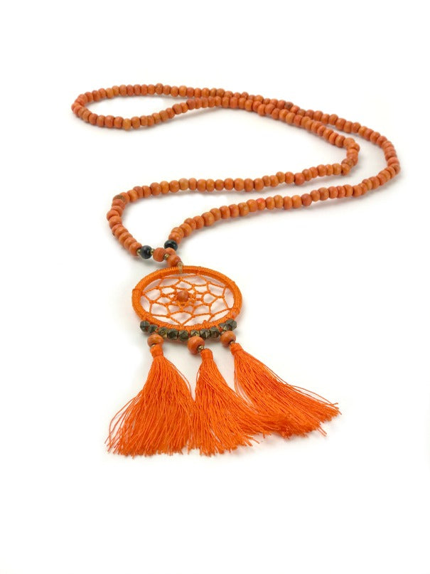 dreamcatcher-pendant-necklace-orange-wood-beads-tassel