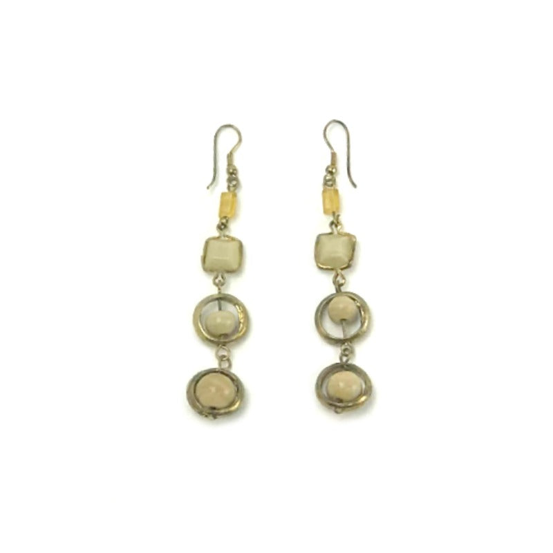 beaded drop earring - bronze cream bead